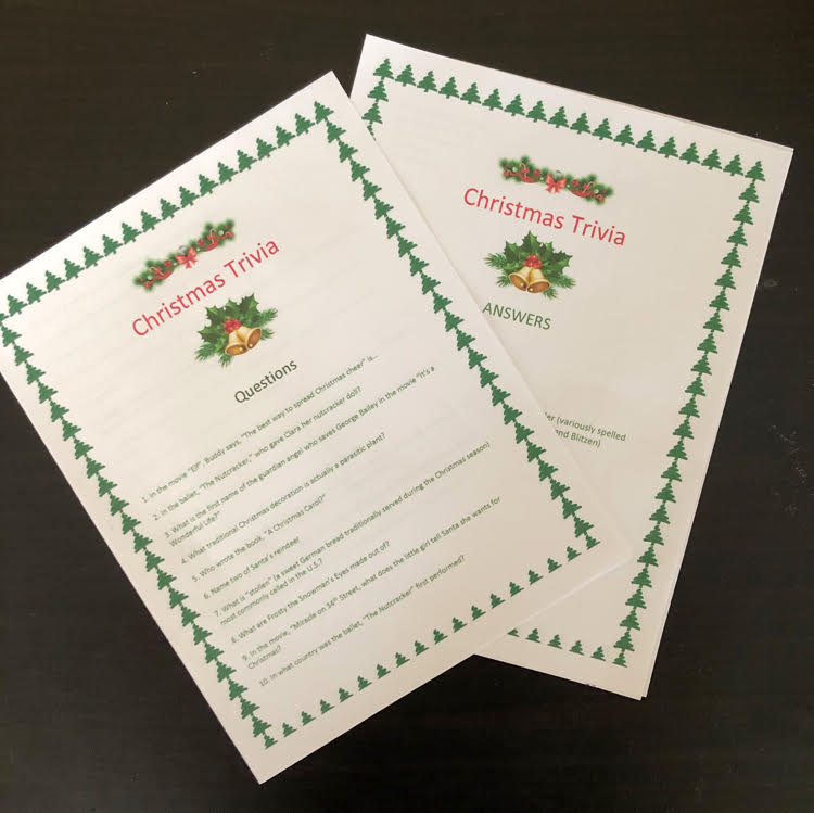 Get your free printable of 25 holiday Christmas trivia questions for your holiday party.