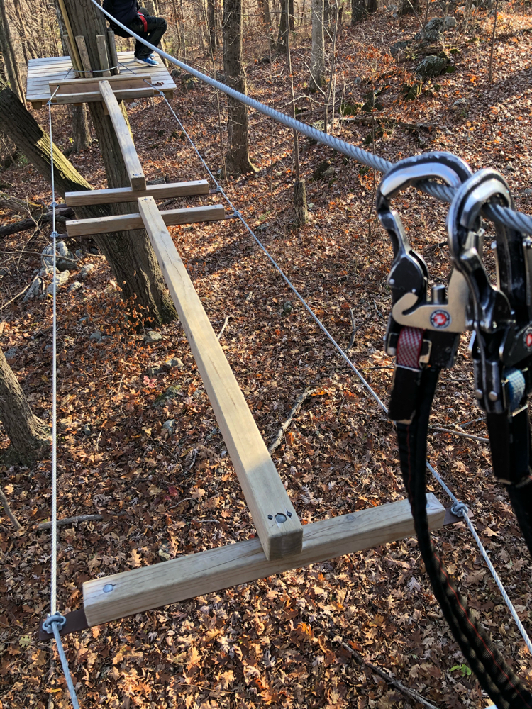 An aerial obstacle and two of the safety carabiners that each obstacle course participant has on her harness at TreEscape Aerial Adventures Ropes Course at Mountain Creek in Vernon, NJ