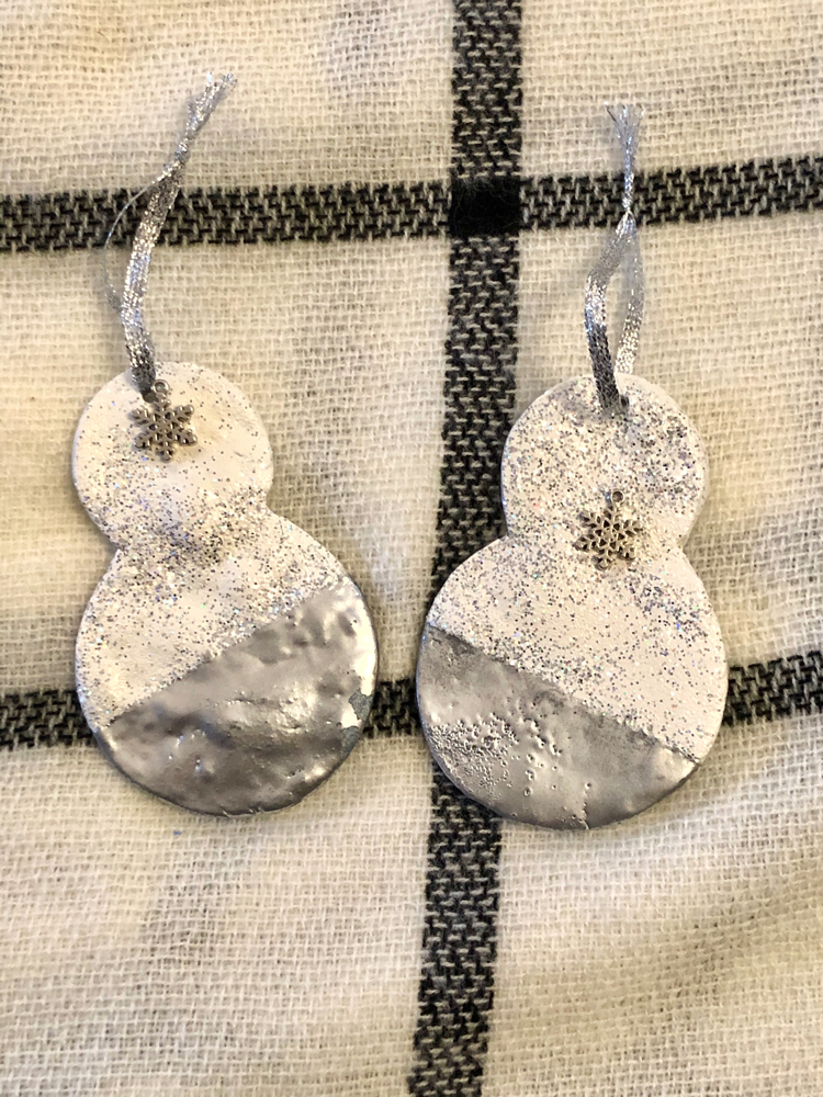 Two beautiful handcrafted snowman ornaments from Nicole of PixelMavensRetreats.com