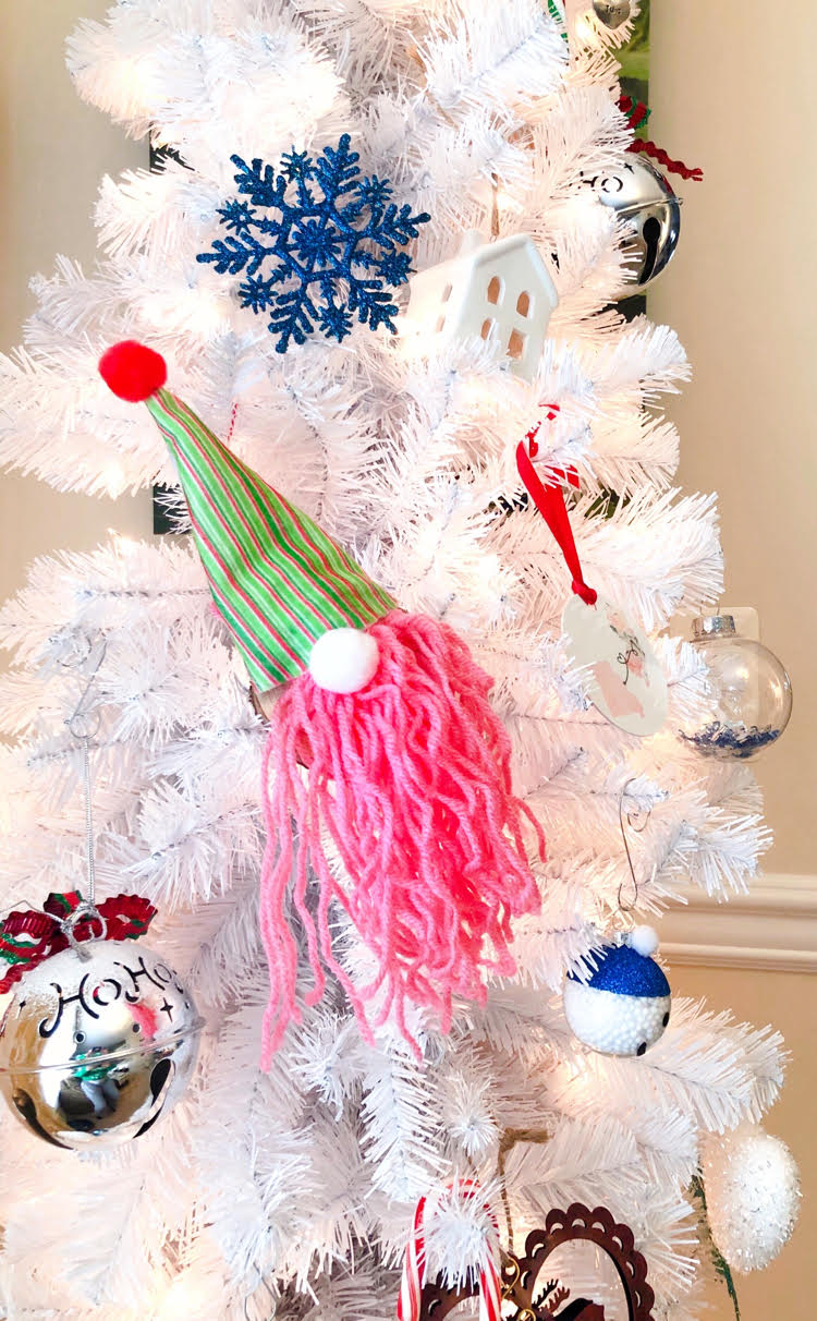 DIY pink and green gnome ornament