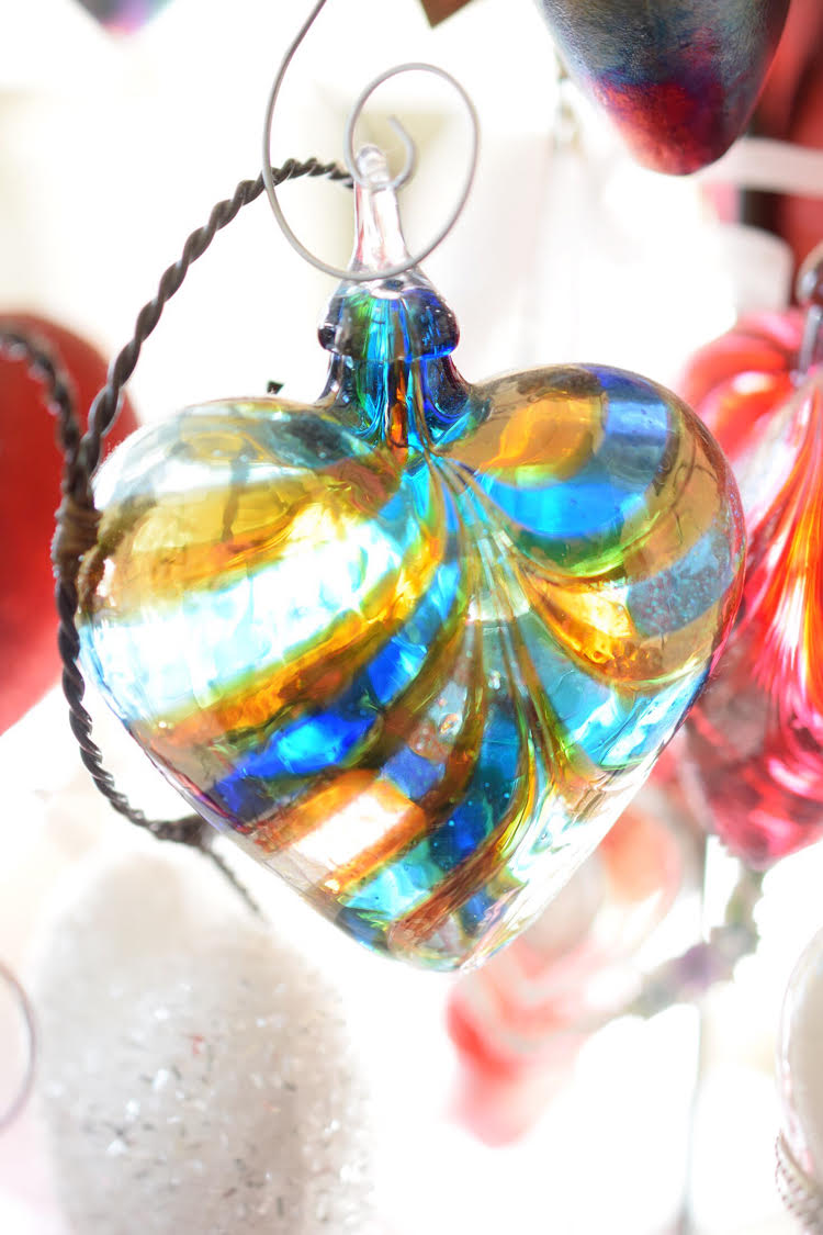 Blue and yellow glass Christmas ornament