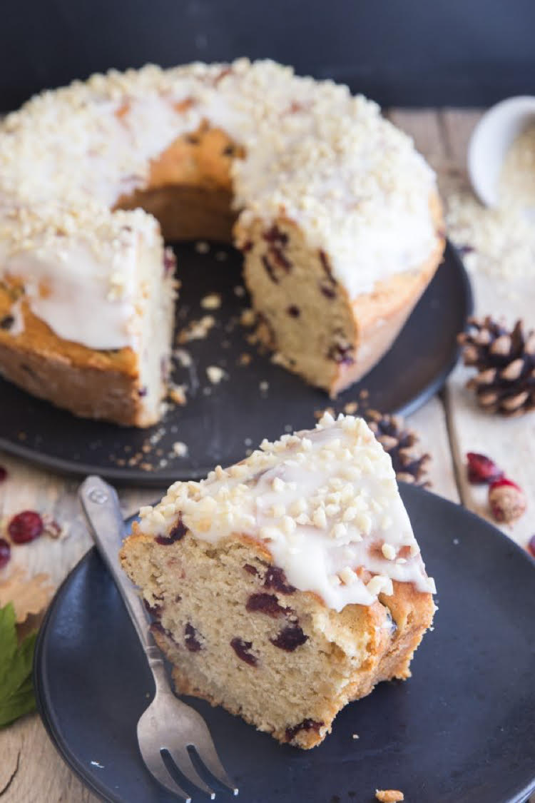 I love this Cranberry Almond Cake recipe by An Italian in My Kitchen