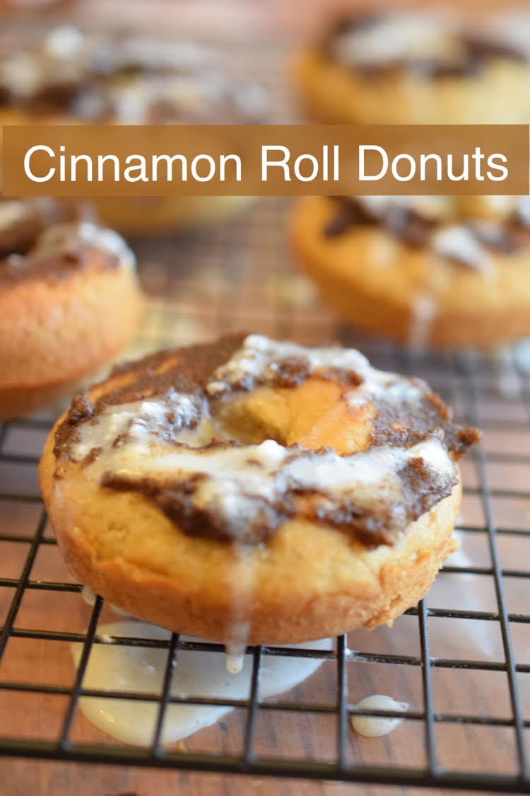 This recipe for cinnamon roll donuts is so easy and is perfect for the holidays!