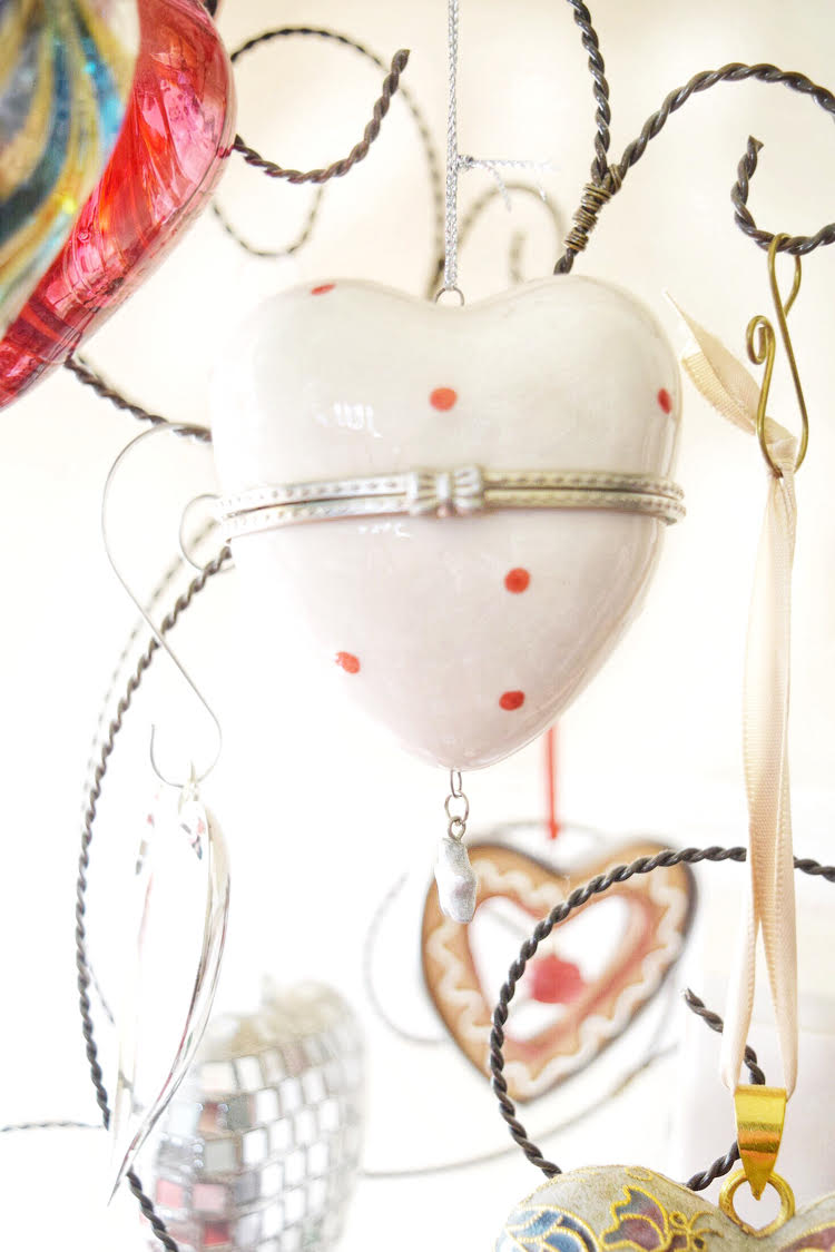 polka dot heart ornament