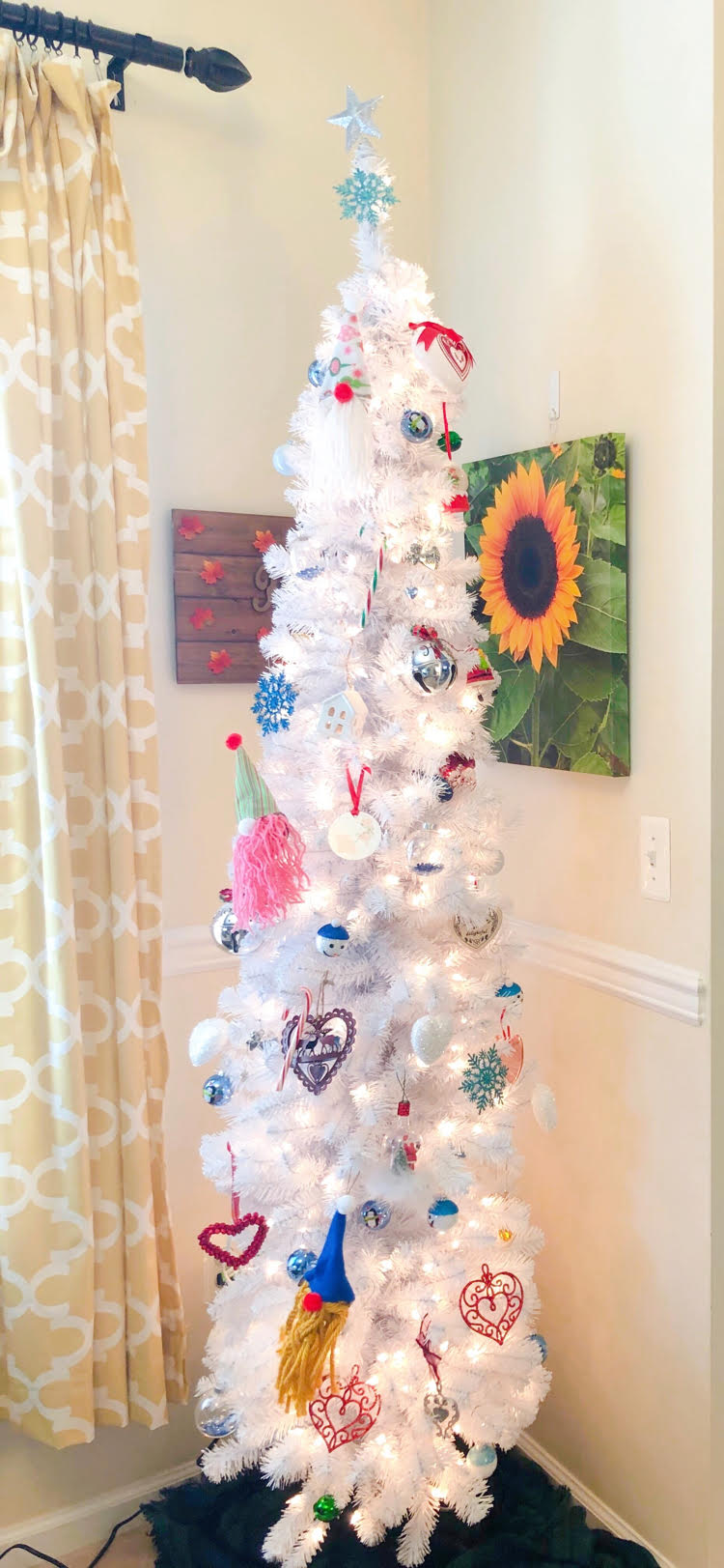 White Christmas tree with DIY gnome ornaments