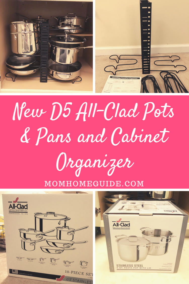 10 piece All-Clad cabinet pots and pans organizer