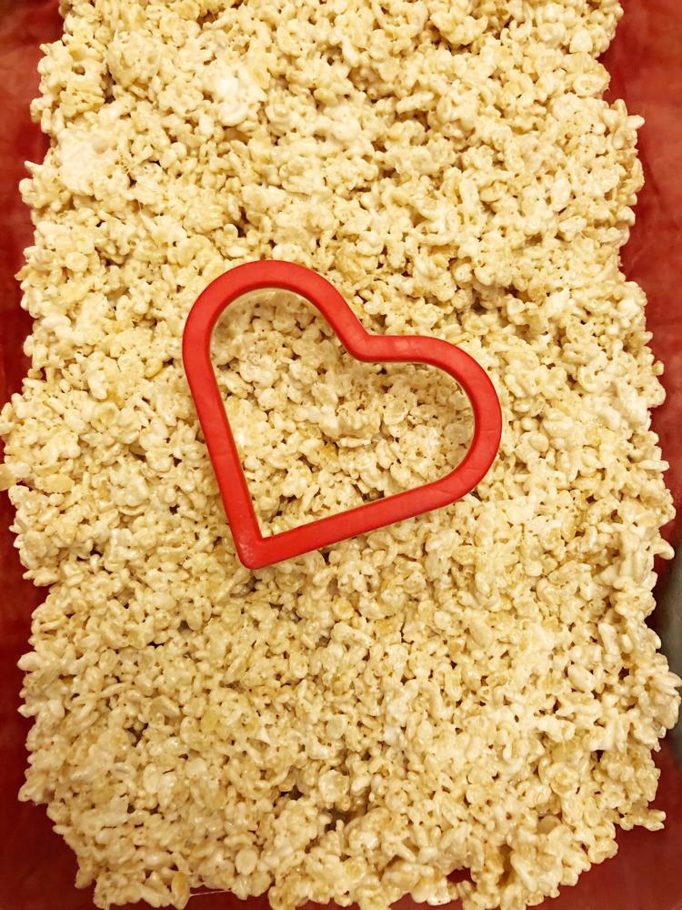 Making heart shaped Rice Krispie treats