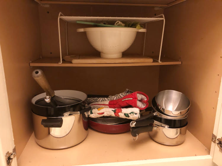 How to organize pots and pans in a cabinet