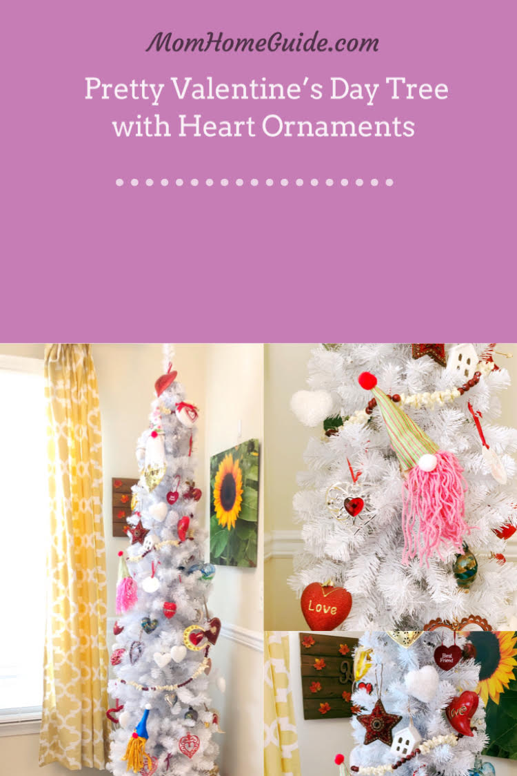A white Christmas tree decorated with heart ornaments and DIY gnome ornaments for Valentine's Day.