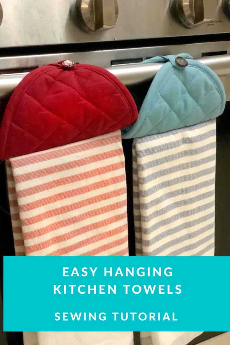 I love this easy hanging kitchen dish towel hack with a pot holder and a dish towel.