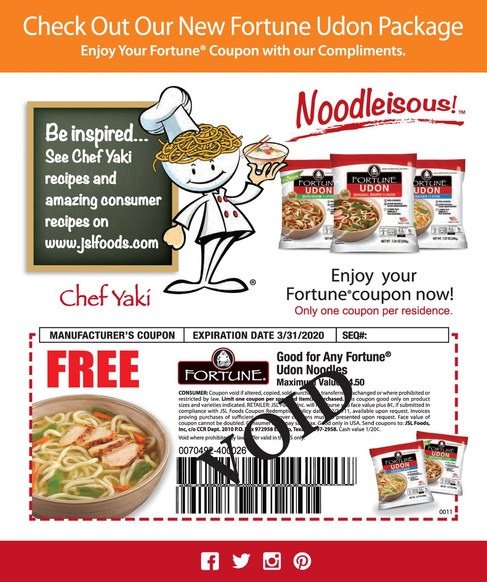 Fortune Udon Noodle Soup Coupon available at JSL Foods