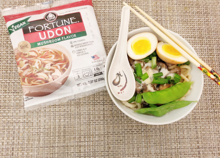 I love this recipe for a cheesy mushroom udon noodle soup made with Fortune Udon Noodles