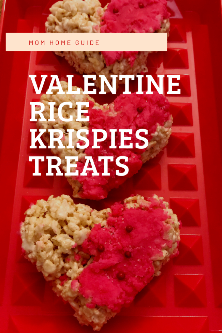 Heart shaped Rice Krispies treat for Valentine's Day