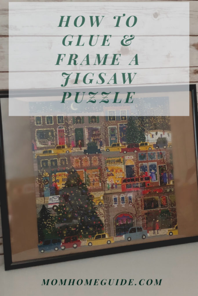 How to glue and frame a jigsaw puzzle with Mod Podge and a poster frame. So easy!