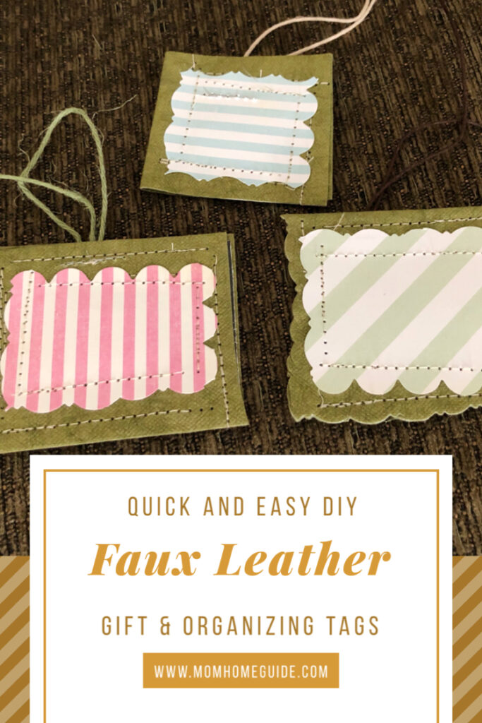 DIY faux leather tags for gifts and organizing made by Kraft-tex paper.