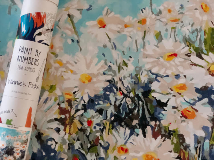 A closeup look at a completed Field of Daisies paint by numbers canvas from Winnie's Picks.