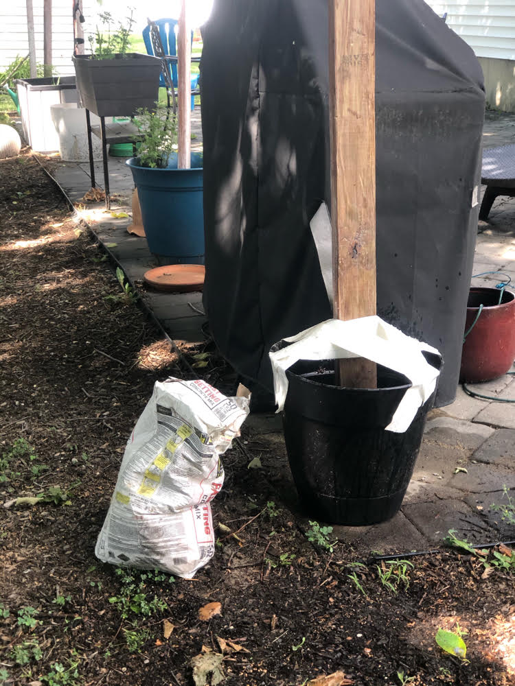 a planter with a DIY post anchored in quick drying cement. The post is temporarily held up with Duck tape.