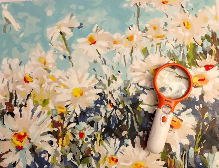 An orange and white magnifying glass on a painted paint by numbers field of daisies canvas