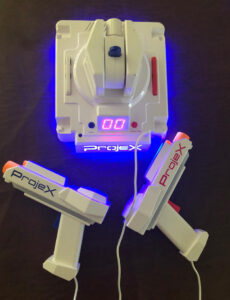 "Project gaming console with ""laser"" blasters"