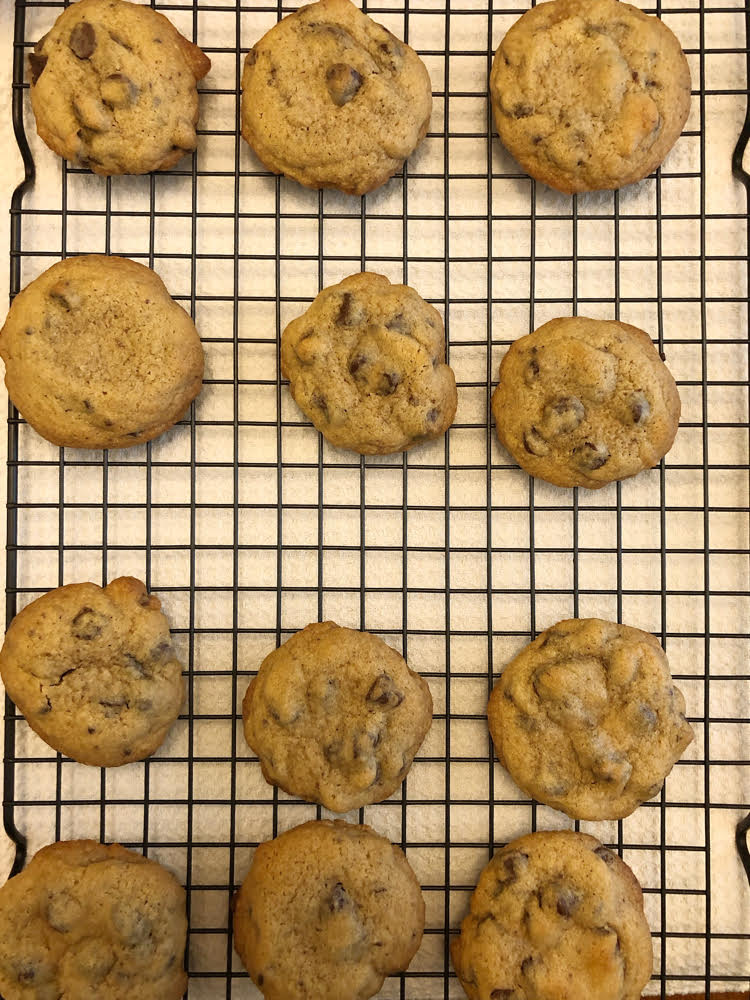 delicious homemade chocolate chip cookies on a cooling rack