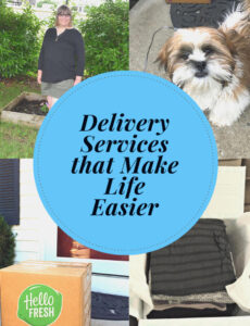 Hello Fresh food delivery box, PupBox subscription box for dogs, Stitch Fix clothing subscription box and Lauren of Mom Home Guide