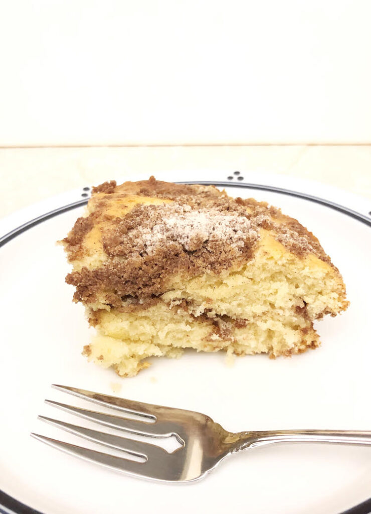 traditional crumb cake topped with a cinnamon  streusel