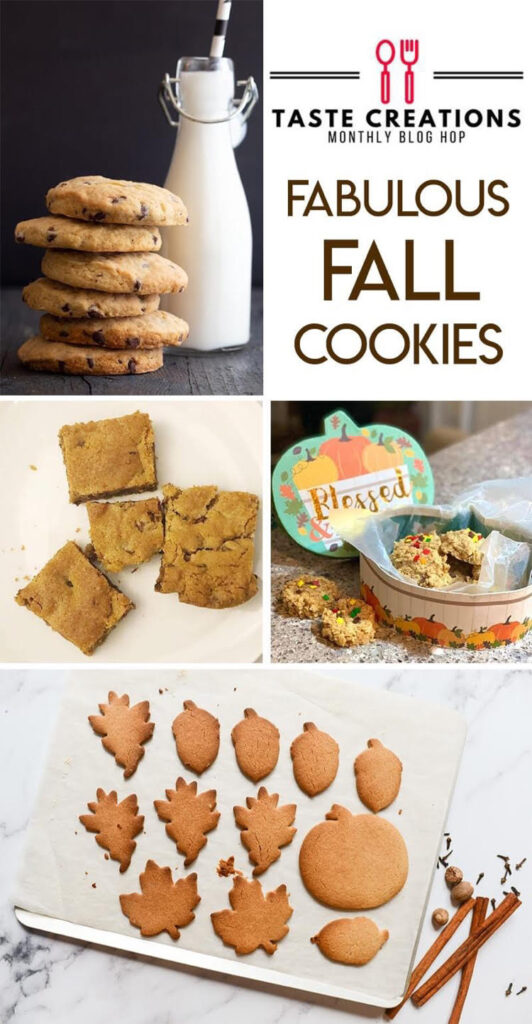 delicious fall cookies - pumpkin cookies, peanut butter cookies and chocolate chip cookie bars