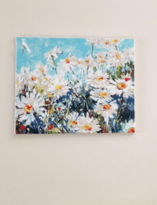 a painting of a vibrant field of daisies