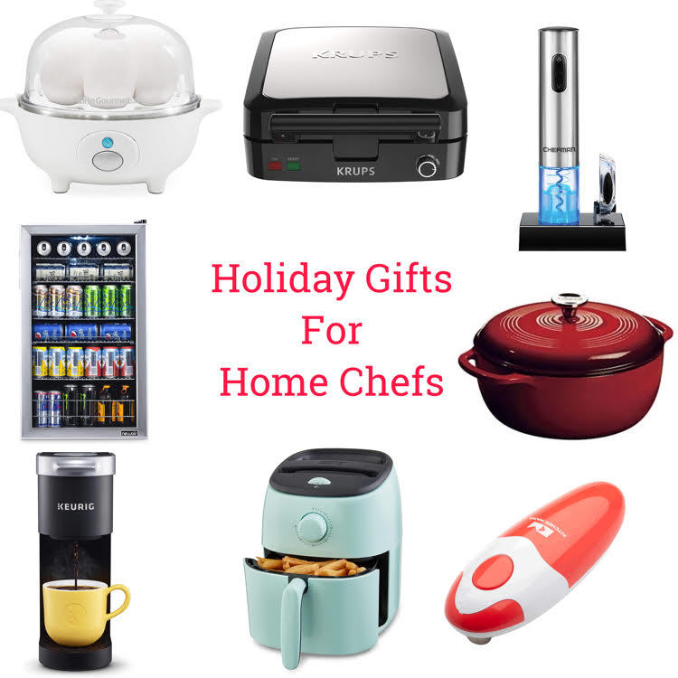 Holiday gifts for home chefs: An egg electric egg cooker, waffle maker, wine bottle opener, beverage fridge, Dutch Oven, Keurig Coffee Maker, Air Fryer and electric can opener
