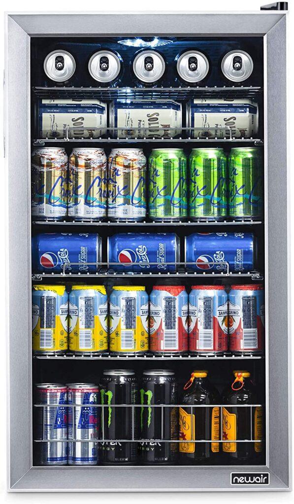 126 beverage fridge with glass door