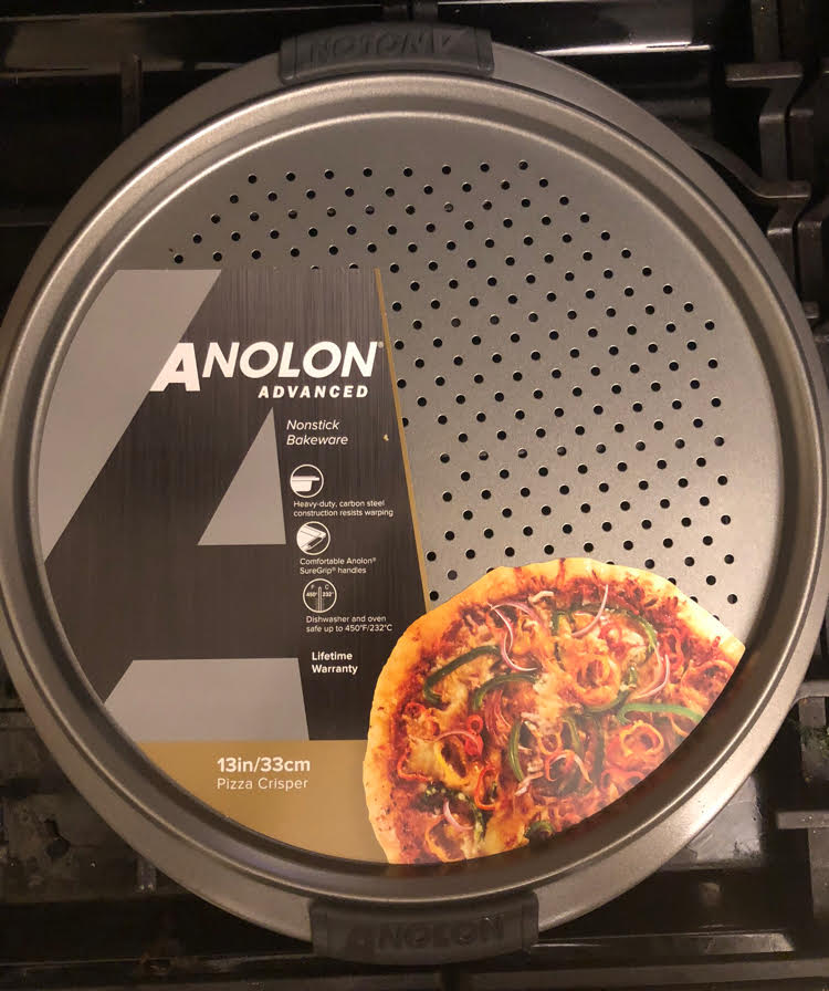 the non stick Anolon pizza crisper pan is perfect for making homemade pizza at home