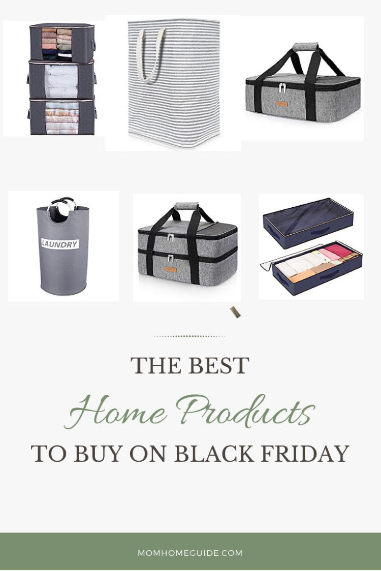 best products to buy for your home on Black Friday - under the bed storage bags, large clothing storage bags, insulated casserole carriers and durable cloth laundry baskets.