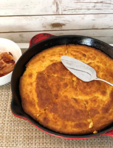 homemade buttermilk cornbread in a red skillet