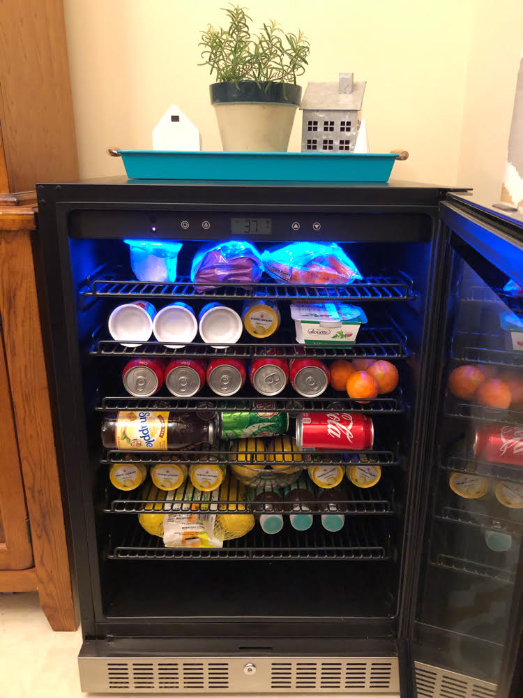 blue led light 224 can stainless steel beverage fridge