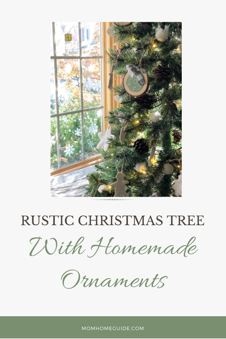 rustic christmas tree with homemade ornaments and tree topper