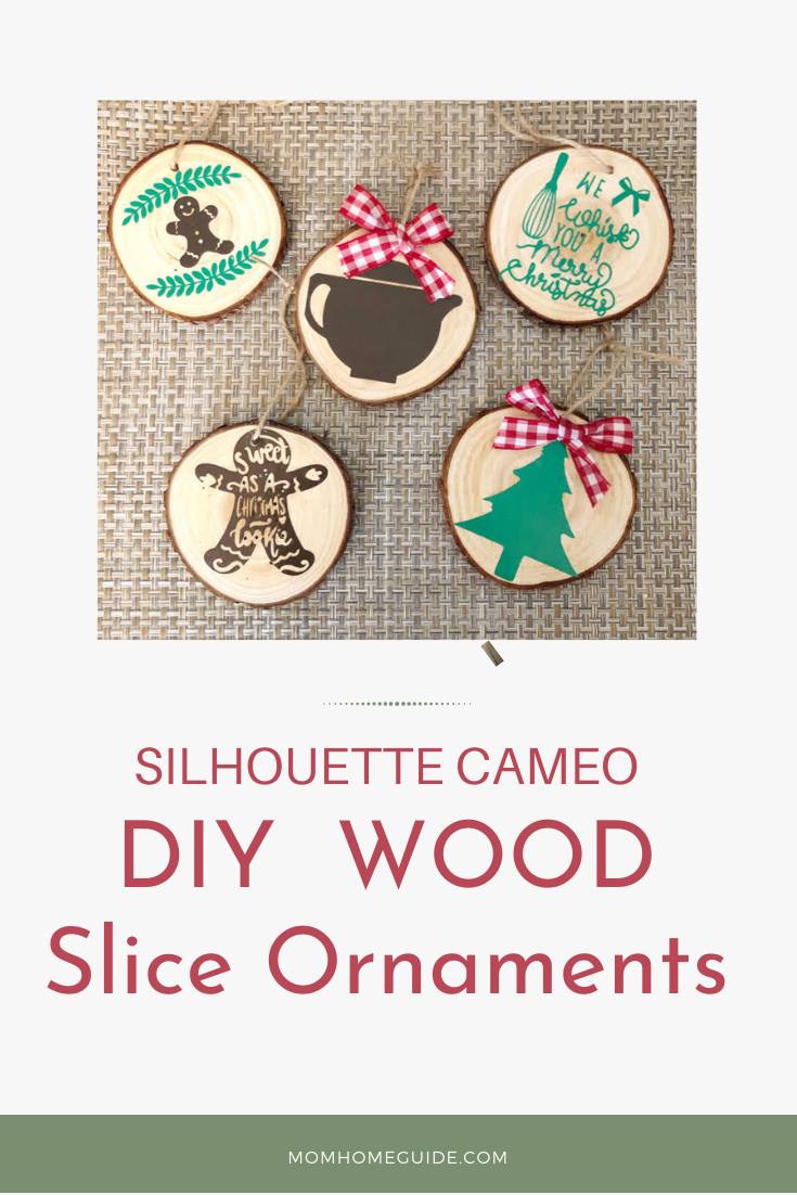 DIY wood slice ornaments using a Silhouette Cameo machine