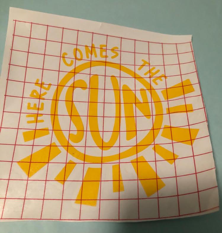 Here Comes the Sun Beatles vinyl laptop sticker