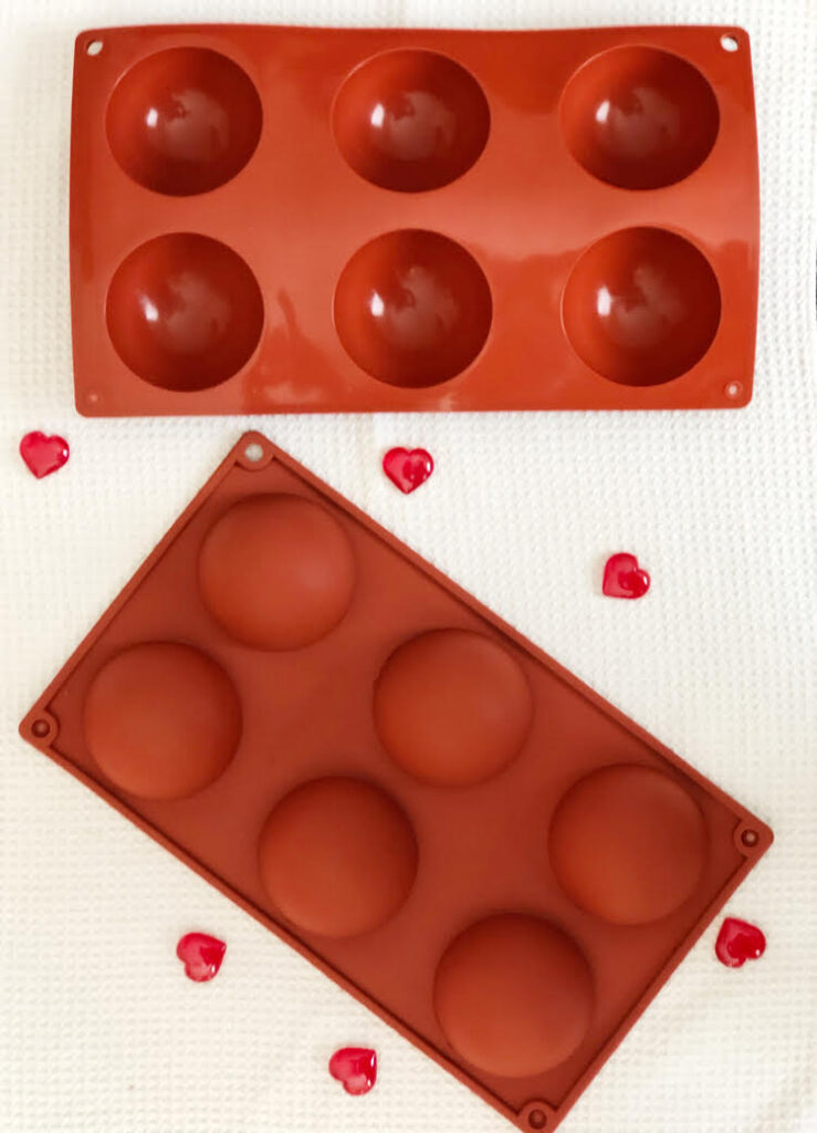 pretty red silicone molds for making hot chocolate bombs