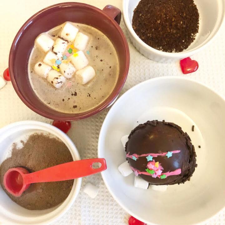 ingredients for dark chocolate mocha hot cocoa bombs