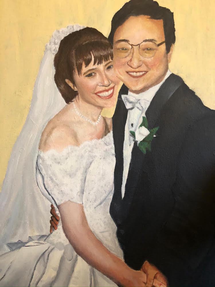 Painted wedding portrait