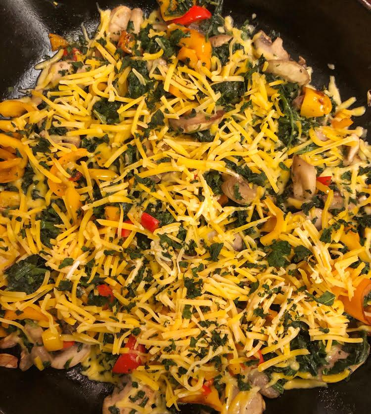 mushroom, pepper, cheddar cheese frittata
