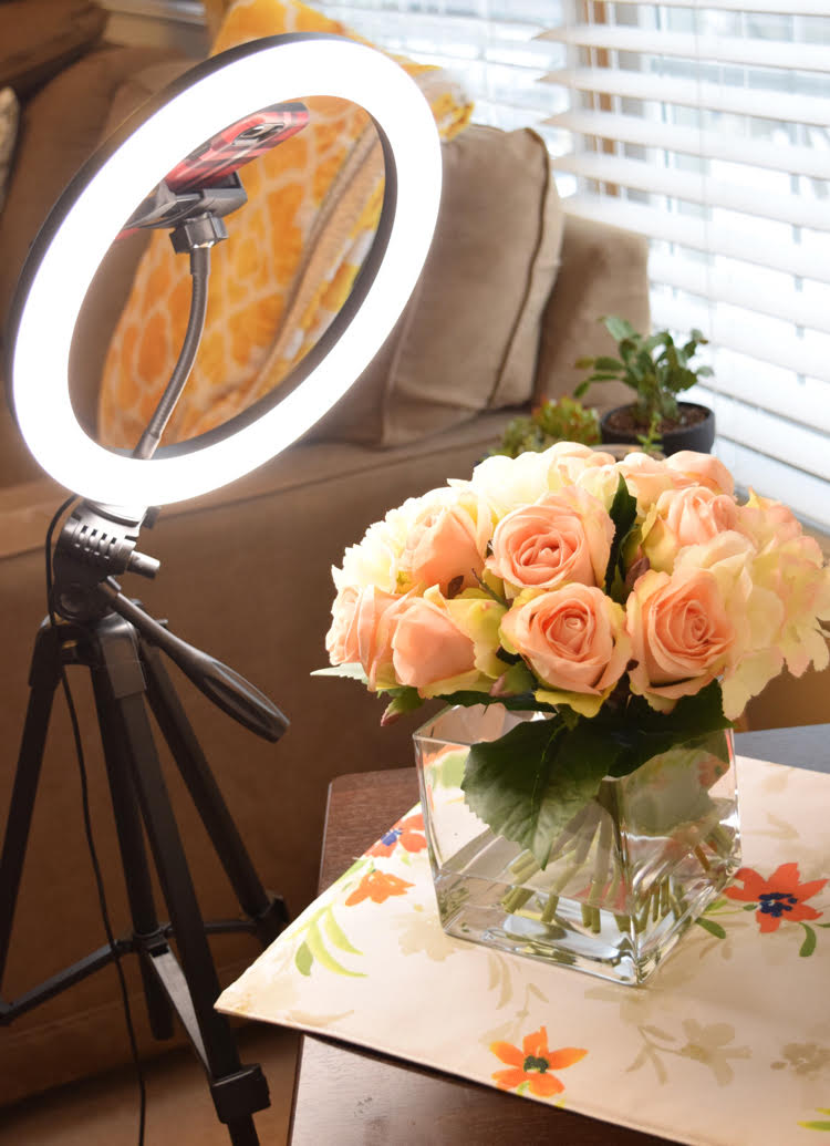A DIY temporary home photo studio made with a TONOR ring light and a rolling laptop cart