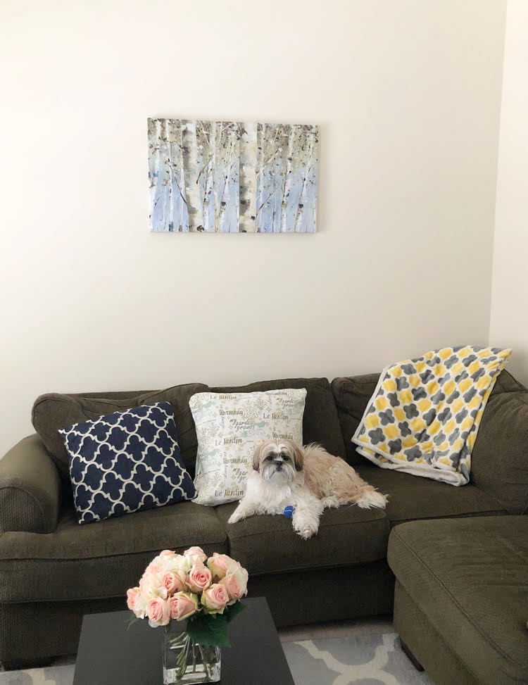 A Lisa Audit canvas print from PhotoWall hanging over a green sofa