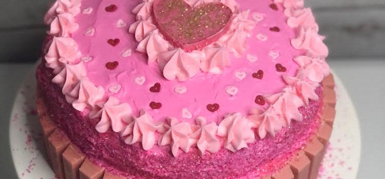Pink KitKat Sweetheart Cake