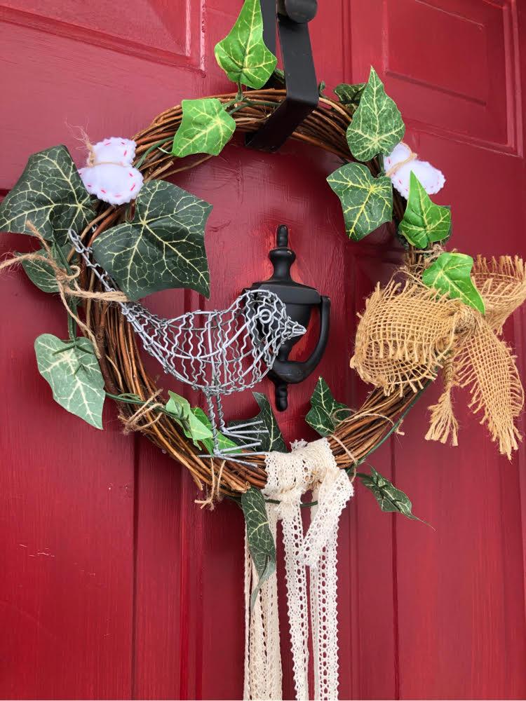 spring bird grapevine wreath