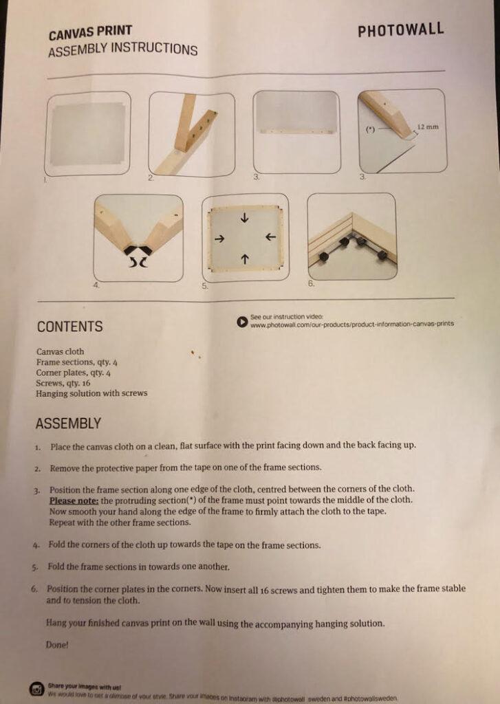 PhotoWall canvas assembly instructions