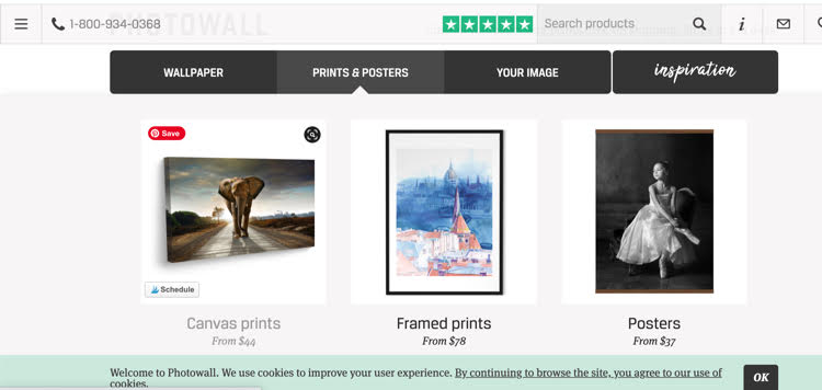 Photowall website, which offers framed and canvas prints