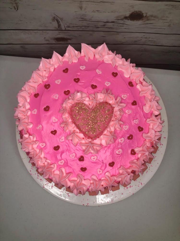 homemade pink heart cake