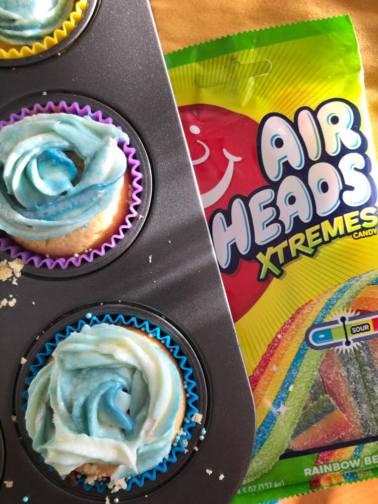 Airhead Extremes are a fun cupcake topping