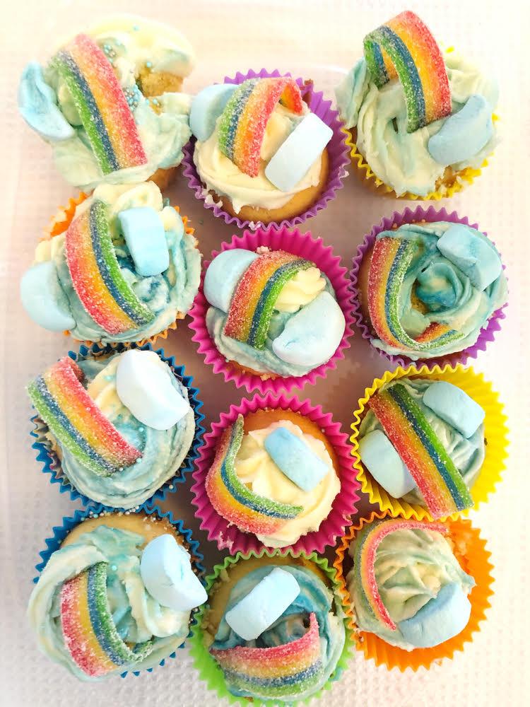 colorful rainbow cupcakes